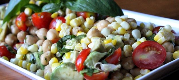 Summer Corn and Chick pea Salad