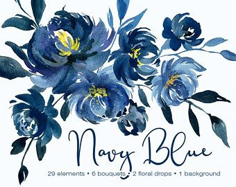 Blush Navy Flowers Nine Designs Floral Topper Border And Etsy In 2021 Watercolor Peonies Floral Watercolor Blue Watercolor