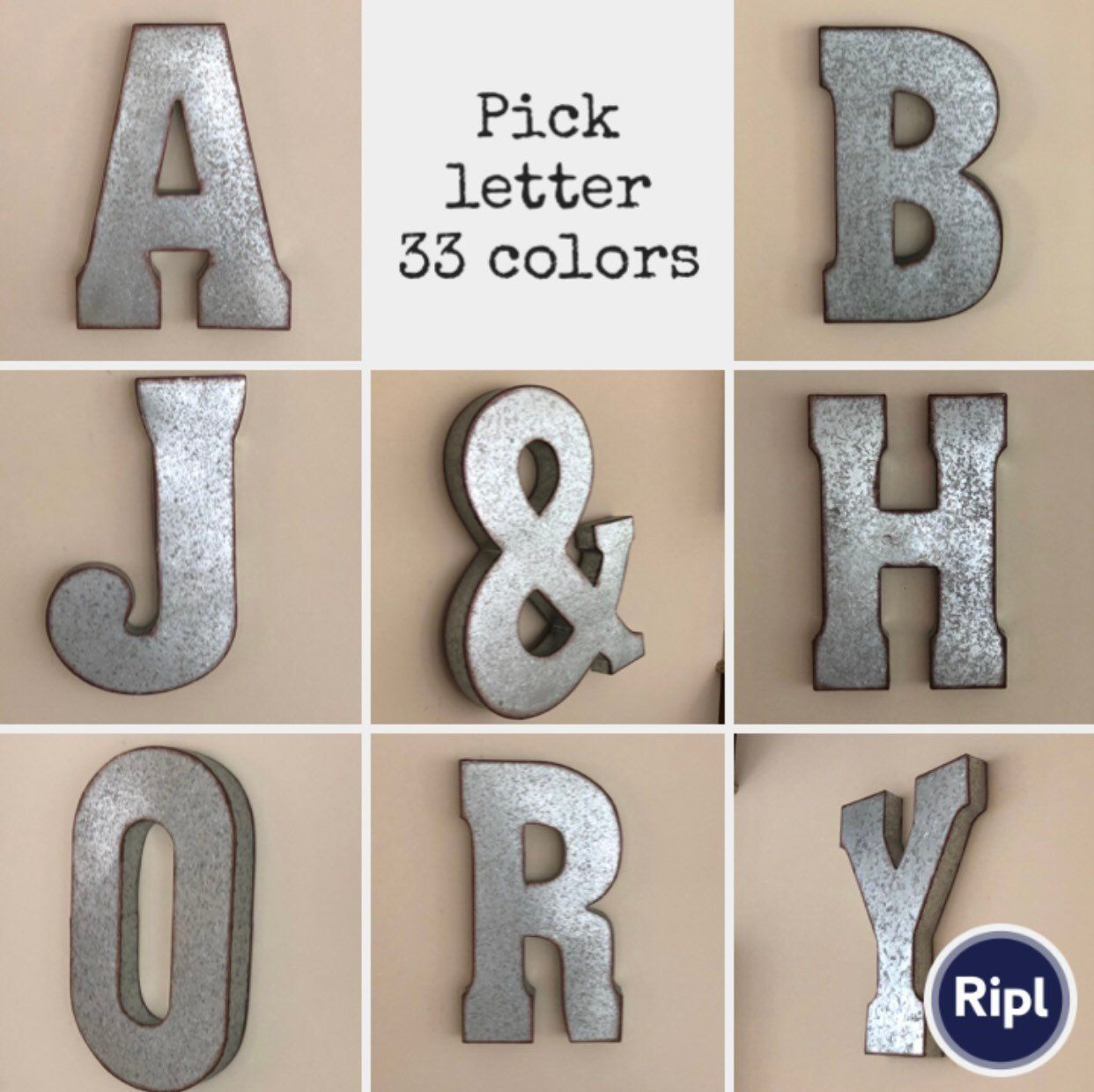 Extra Large Metal Letters/Wall Decor/Galvanized Metal Letters/Love