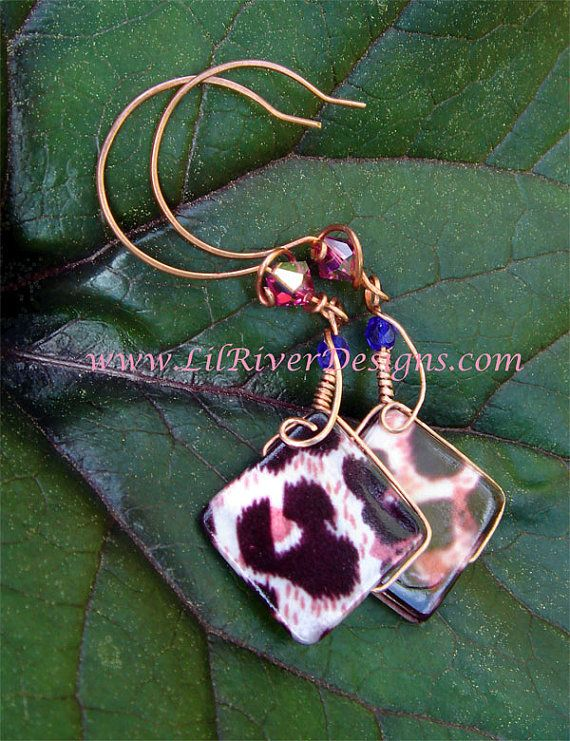 Leopard and Copper Earrings by lilriverdesigns on Etsy, $25.00