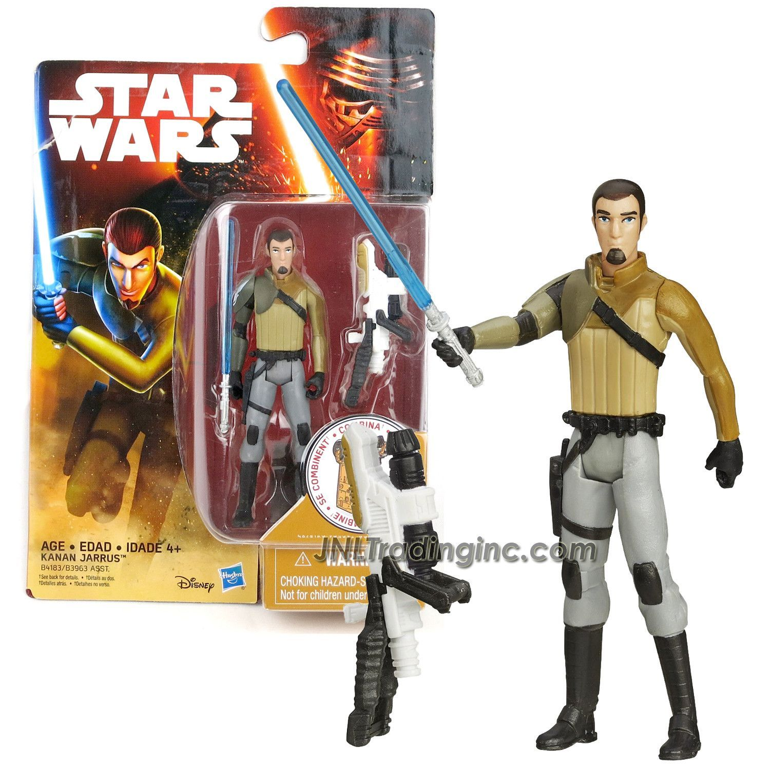 "Star Wars Rebels Series 4"" Tall Figure - KANAN JARRUS with Blue Lightsaber and Build A Weapon Part #2"