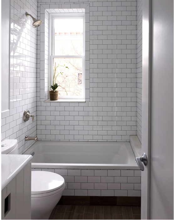 Small Bathroom White Subway Tile With Black Grout White Subway Tile Bathroom Bathroom Tile Designs Patterned Bathroom Tiles