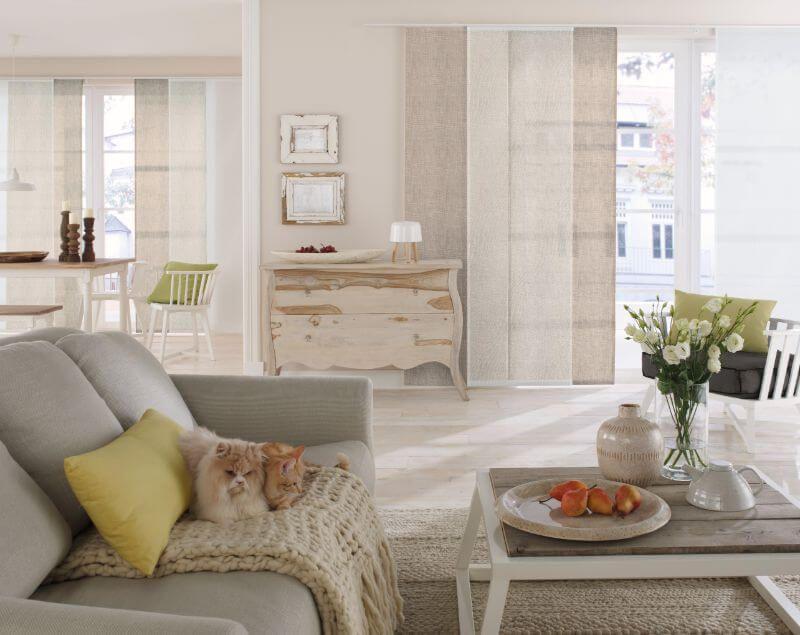 wohnzimmer flaechenvorhang helles braun ❤ Vielfältige Plissees - Wohnzimmer In Weis Und Braun