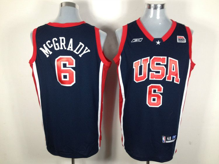 Reebok USA 2004 Olympic Dream Team Six 6 Tracy McGrady Blue Basketball  Jersey 722c75276