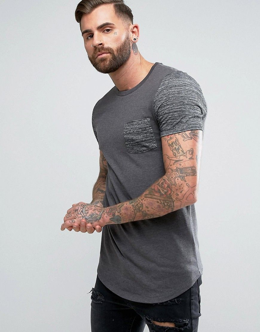 ASOS Longline Muscle T-Shirt With Contrast Inject Fabric Pocket And Sleeve  With Curved Hem at asos.com