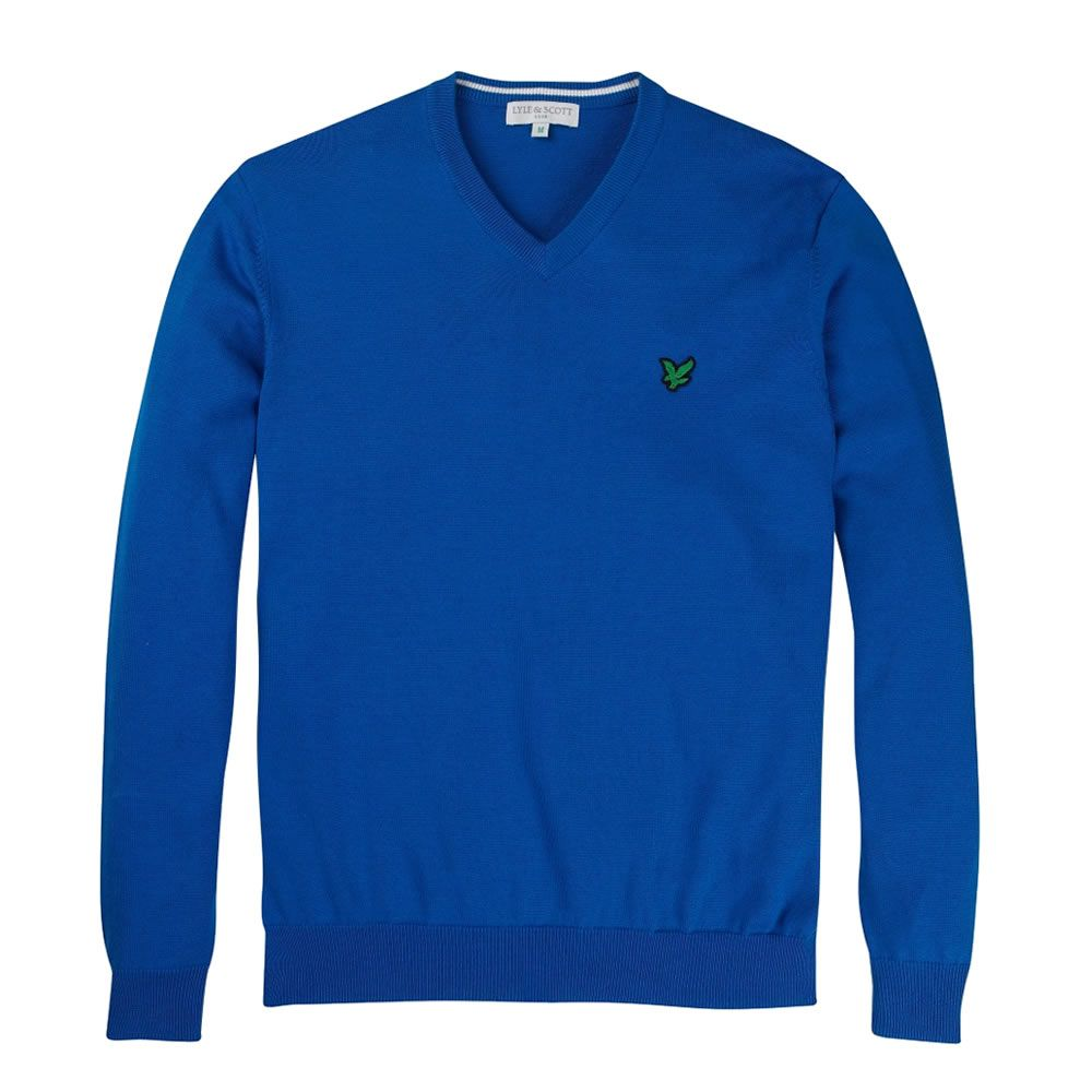 Cobalt Blue Pima Cotton V-Neck Sweater. A lovely colour for Summer ...