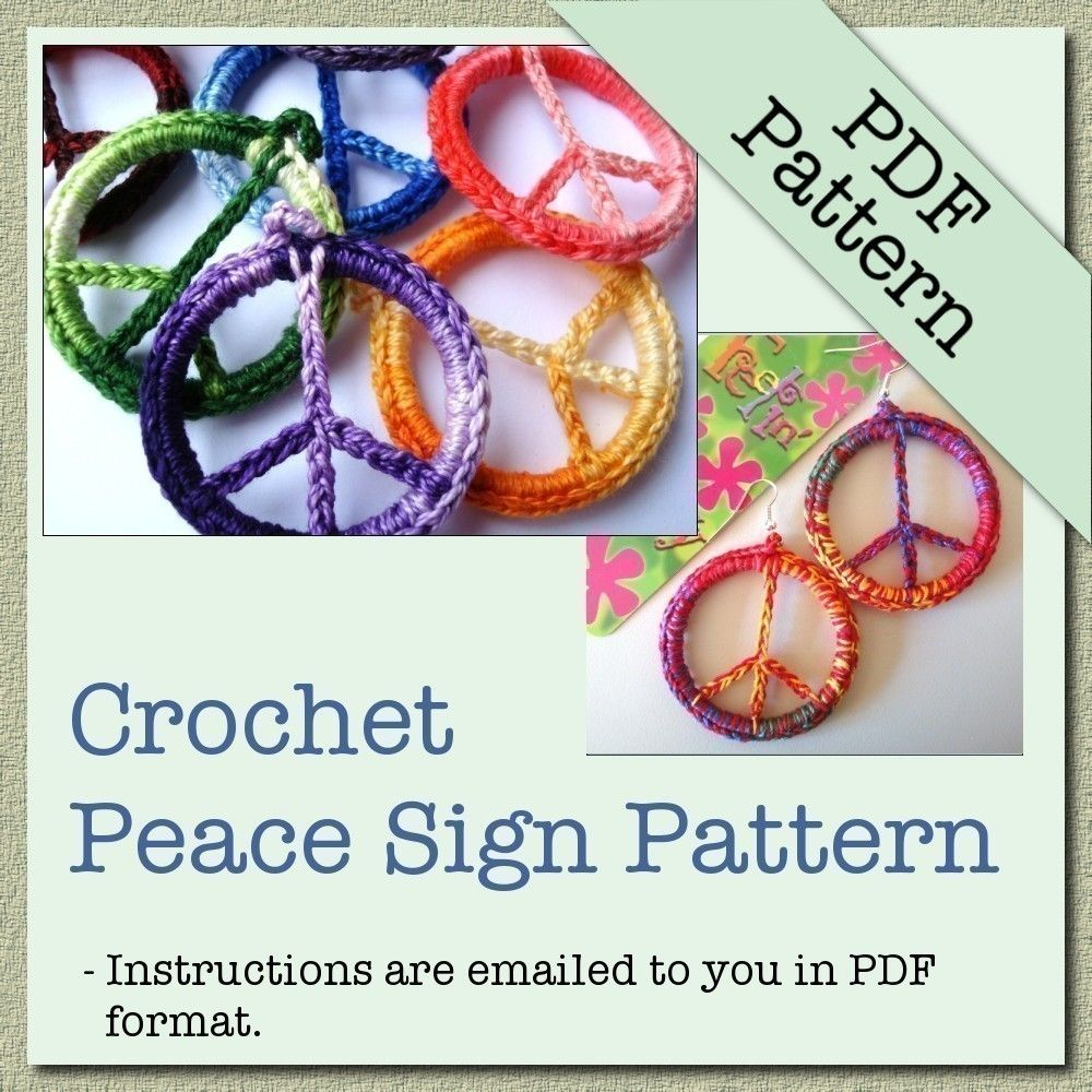 Pattern crochet peace sign pendant peace crochet and pendants items similar to pattern crochet peace sign pendant on etsy mozeypictures Image collections