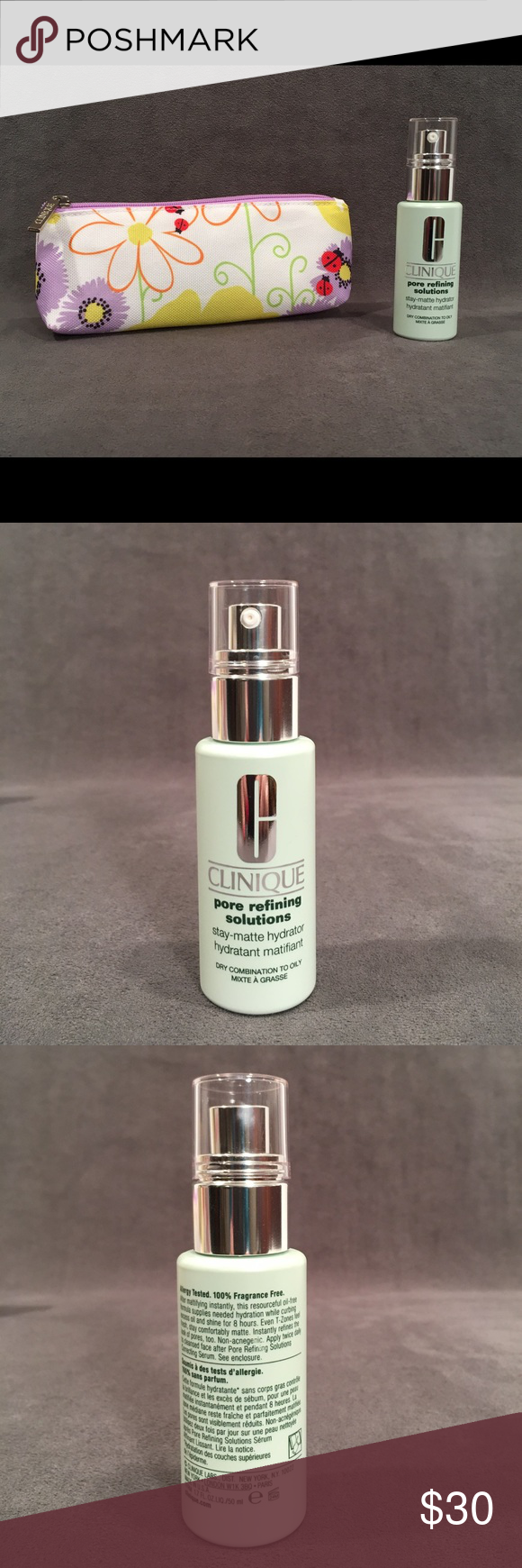Clinique Pore Refining Stay Matte Lotion & Bag Authentic Clinique! Pore Refining Solutions Stay Matte Hydrator for Oily, Combination, Dry Skin Types. Supplies needed hydration while curbing excess oil and shine for 8 hours. Partially used. Approximately 60% of lotion remaining. Clinique Other