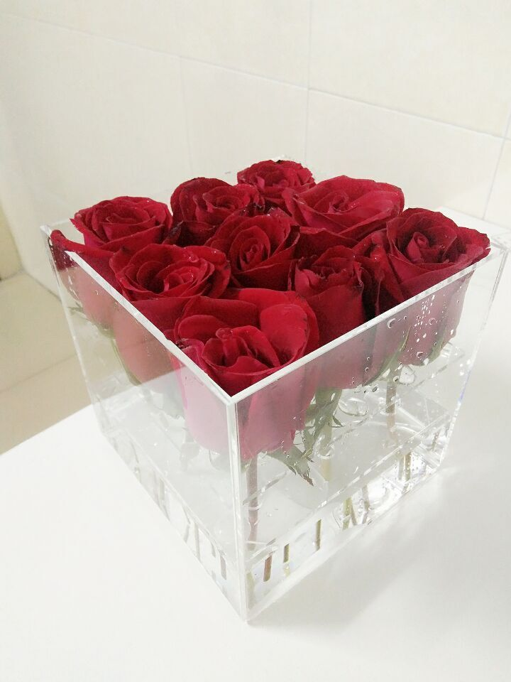 Transparent Acrylic Flower Box With 9 Holes Flower Boxes Acrylic Flowers Acrylic Display