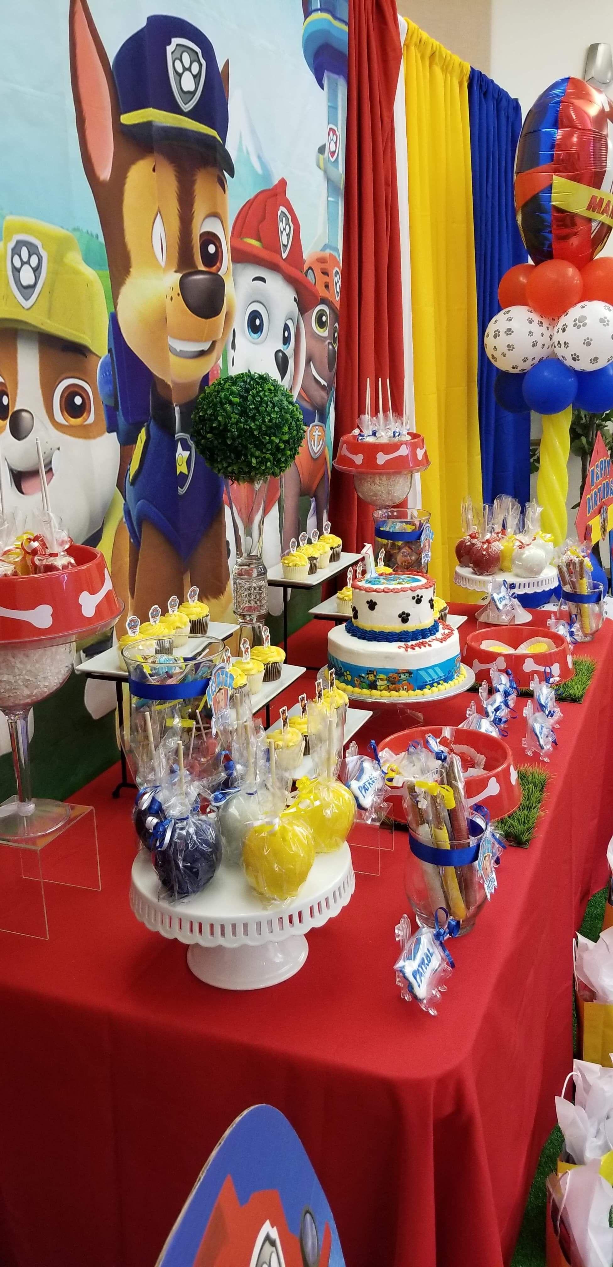Paw Patrol 1st Birthday Dessert Table Paw Patrol Party Decorations Paw Patrol Birthday Cake Paw Patrol Birthday Theme