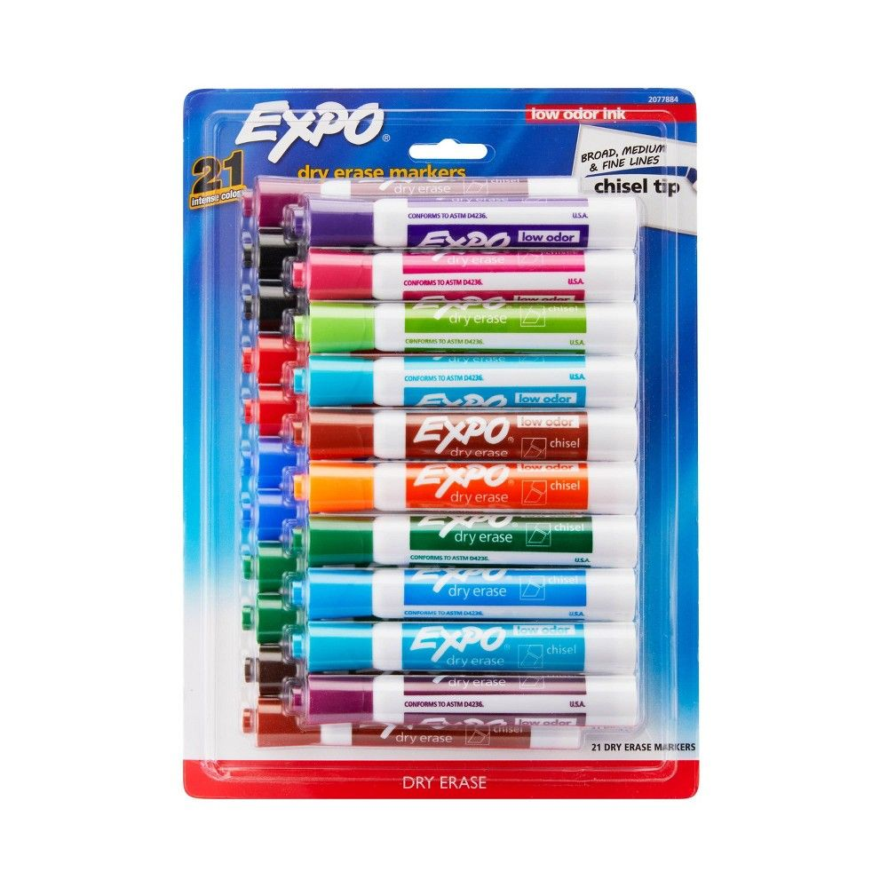 21pk Dry Erase Marker Chisel Tip Multicolor Expo Dry Erase Markers Dry Erase Expo Marker