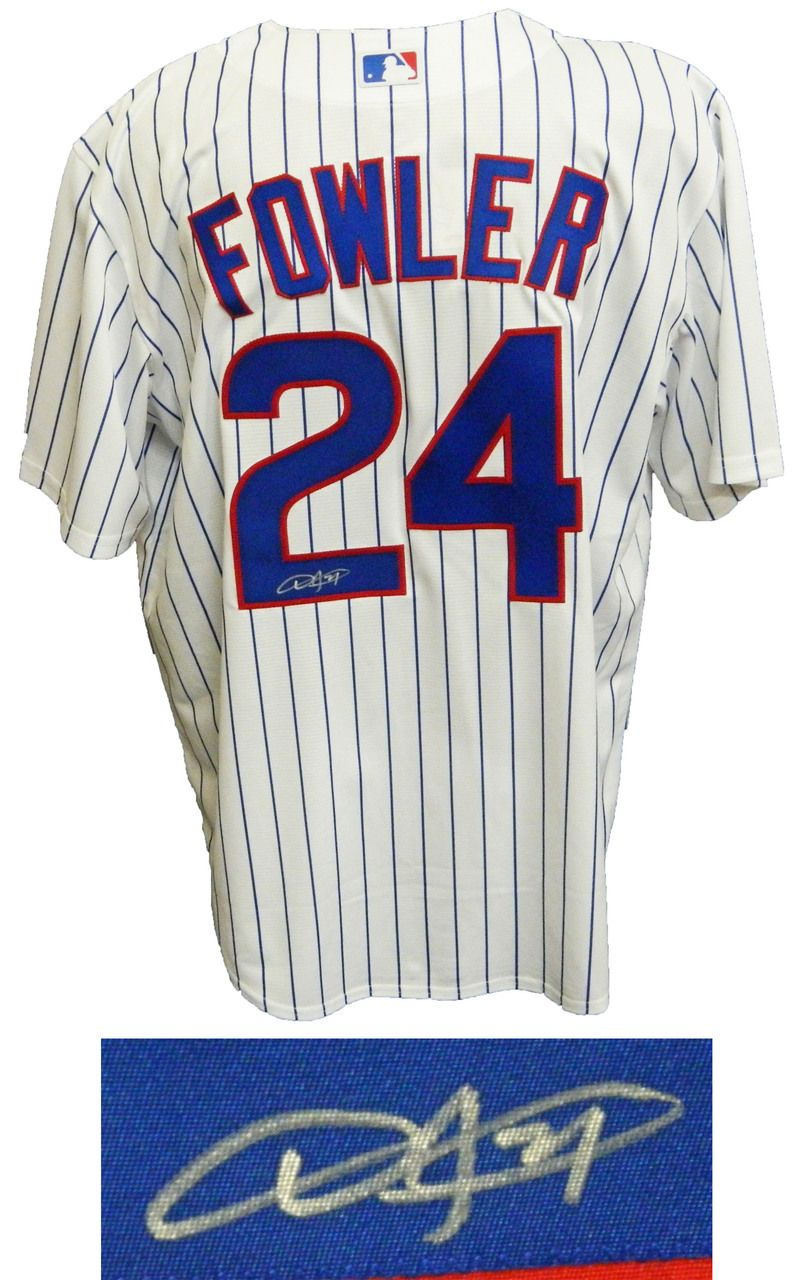 big sale 896a5 1cdf4 Dexter Fowler Signed Chicago Cubs White Pinstripe Majestic ...