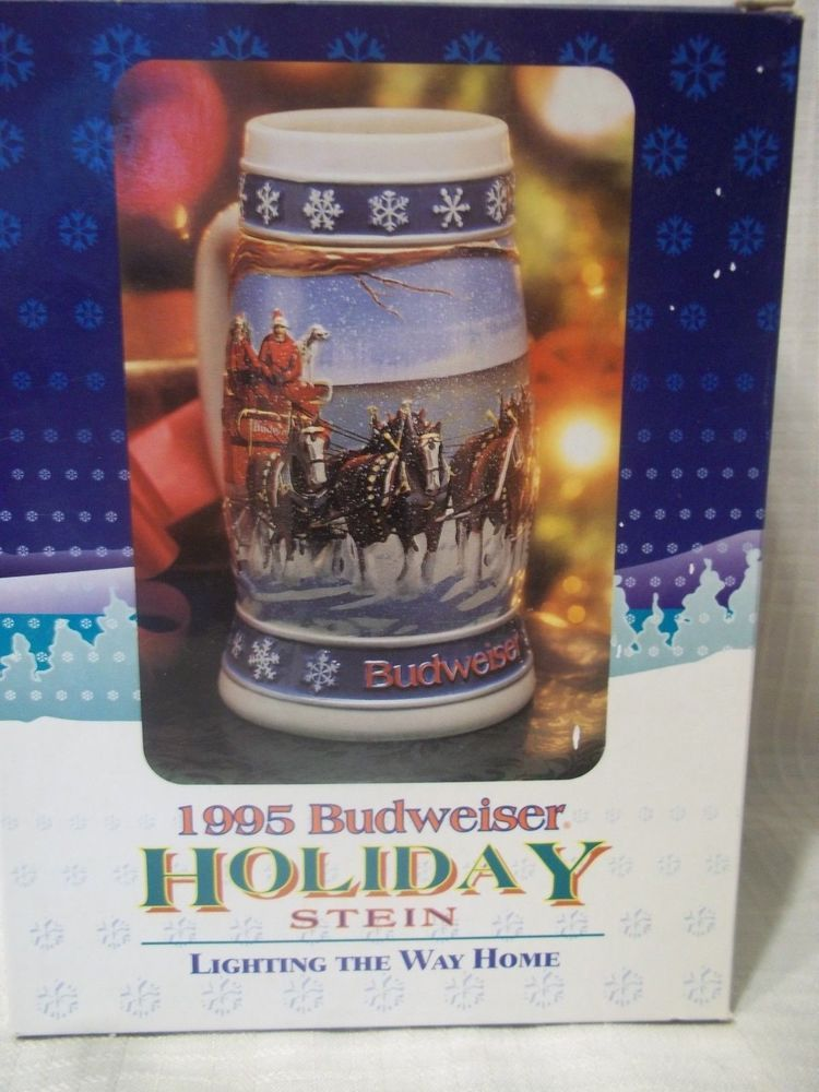 NEW Budweiser Holiday Stein LIGHTING THE WAY HOME 1995 IN BOX