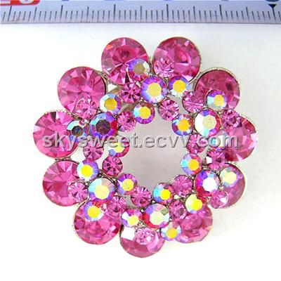 Fuchsia and AB Crystal Layered Flower jewelry Brooch (SWTBC1) (SWTBC1) - China brooch, sky sweet