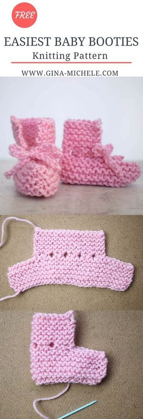 EASY Tie Front Baby Booties Knitting Pattern | Babys, Babyschühchen ...