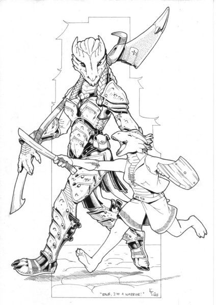 D Line Drawing : Two dragonborn d not elder scrolls player character