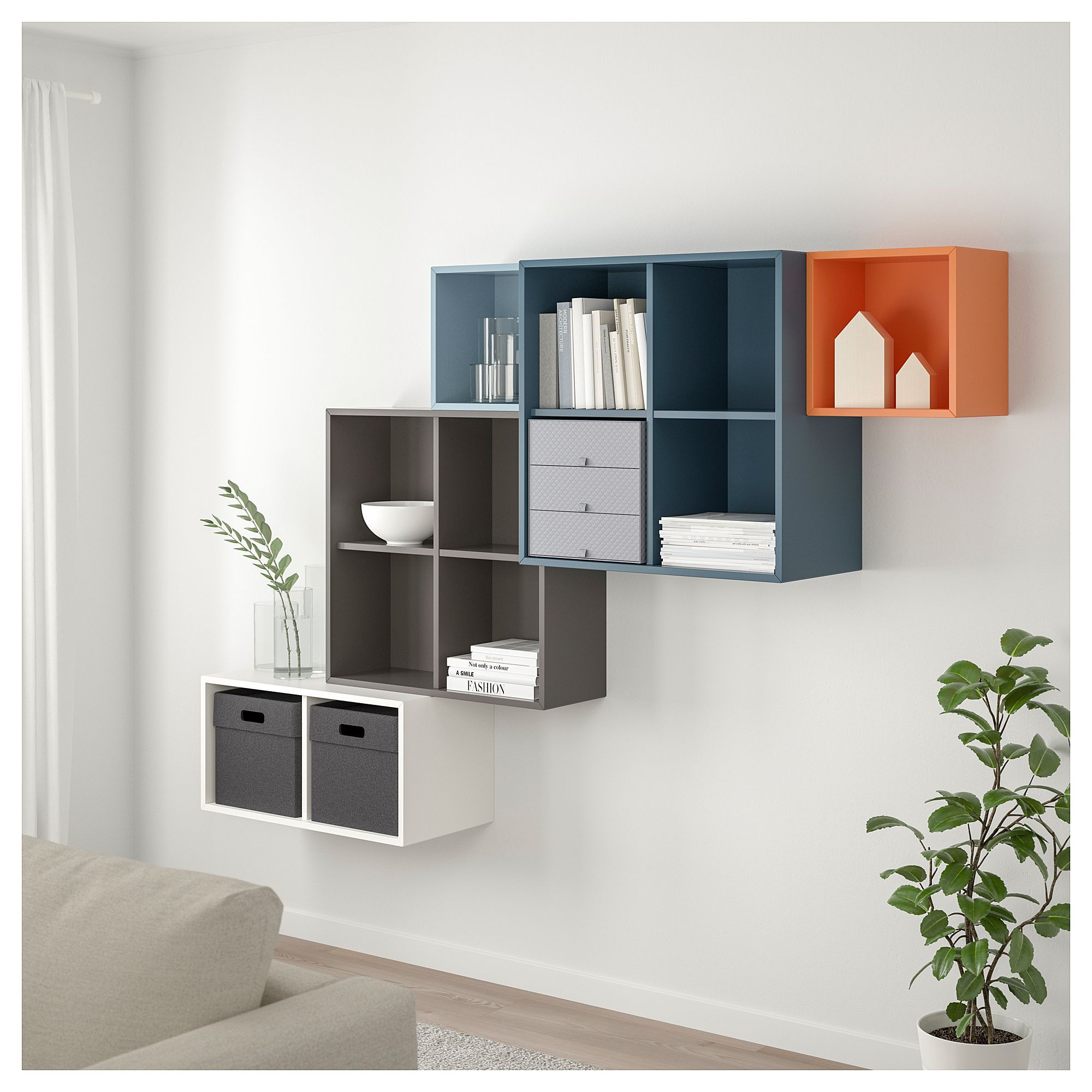 Ikea Eket Wall Mounted Cabinet Combination Multicolor Living Room Design Diy Diy Storage Ideas For Small Bedrooms Storage Boxes With Lids
