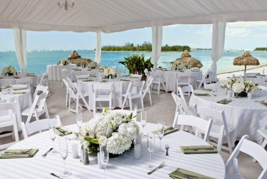 Oceanfront Reception Setup At Sunset Key Guest Cottages A Westin Resort In Key West Key West Wedding Venue Cottage Wedding Seaside Florida Wedding