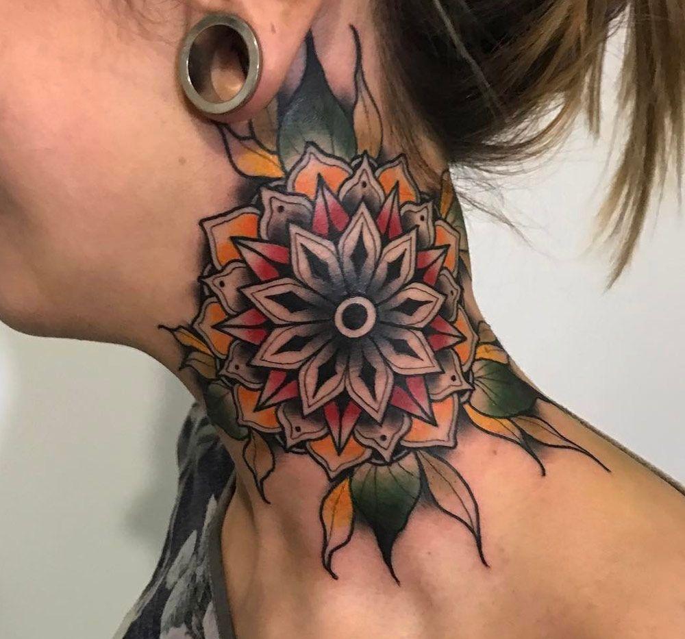 Color Neck Mandala Side Neck Tattoo Neck Tattoos Women Throat