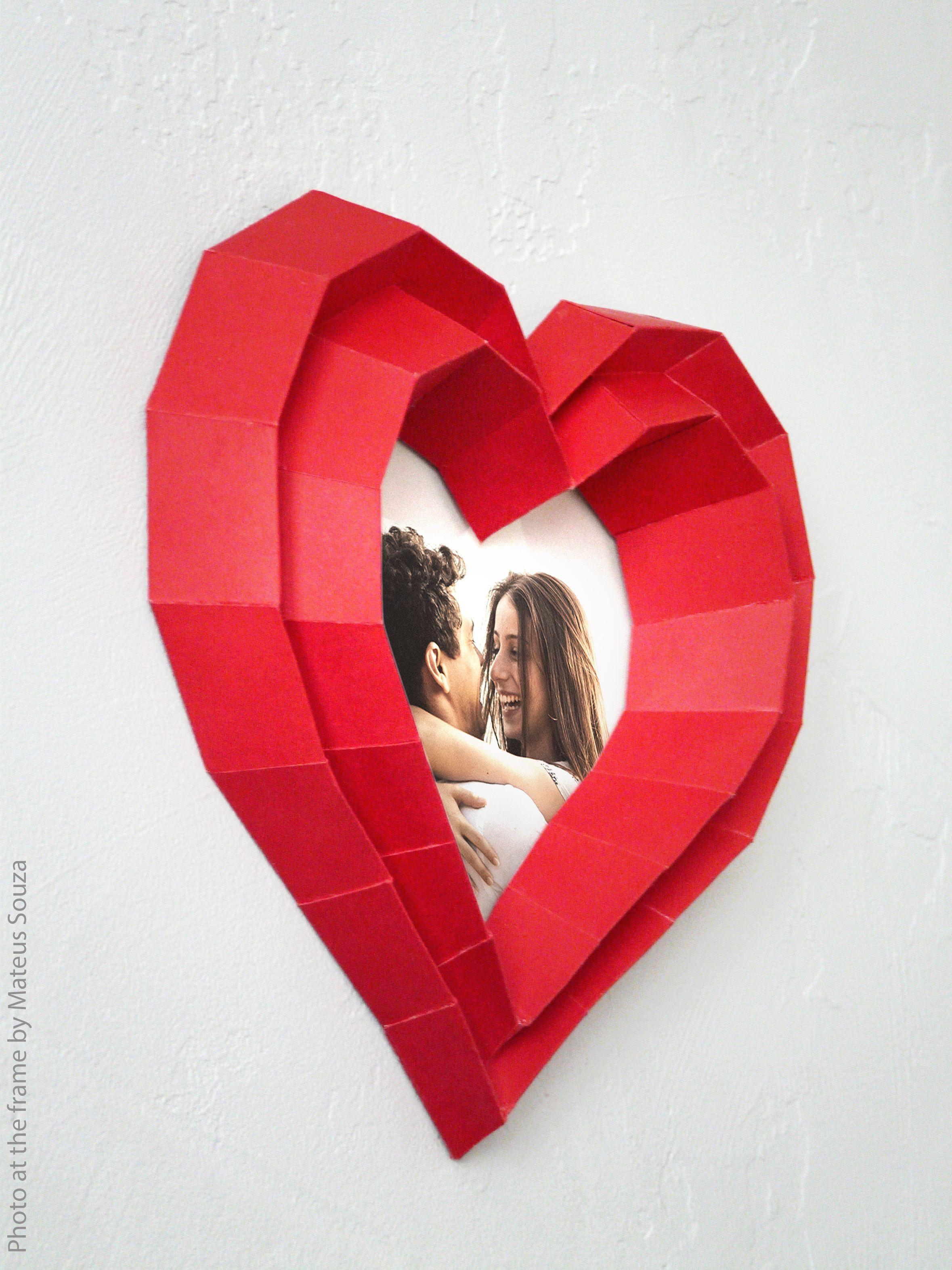 3d papercraft heart photo frame diy templates pdf