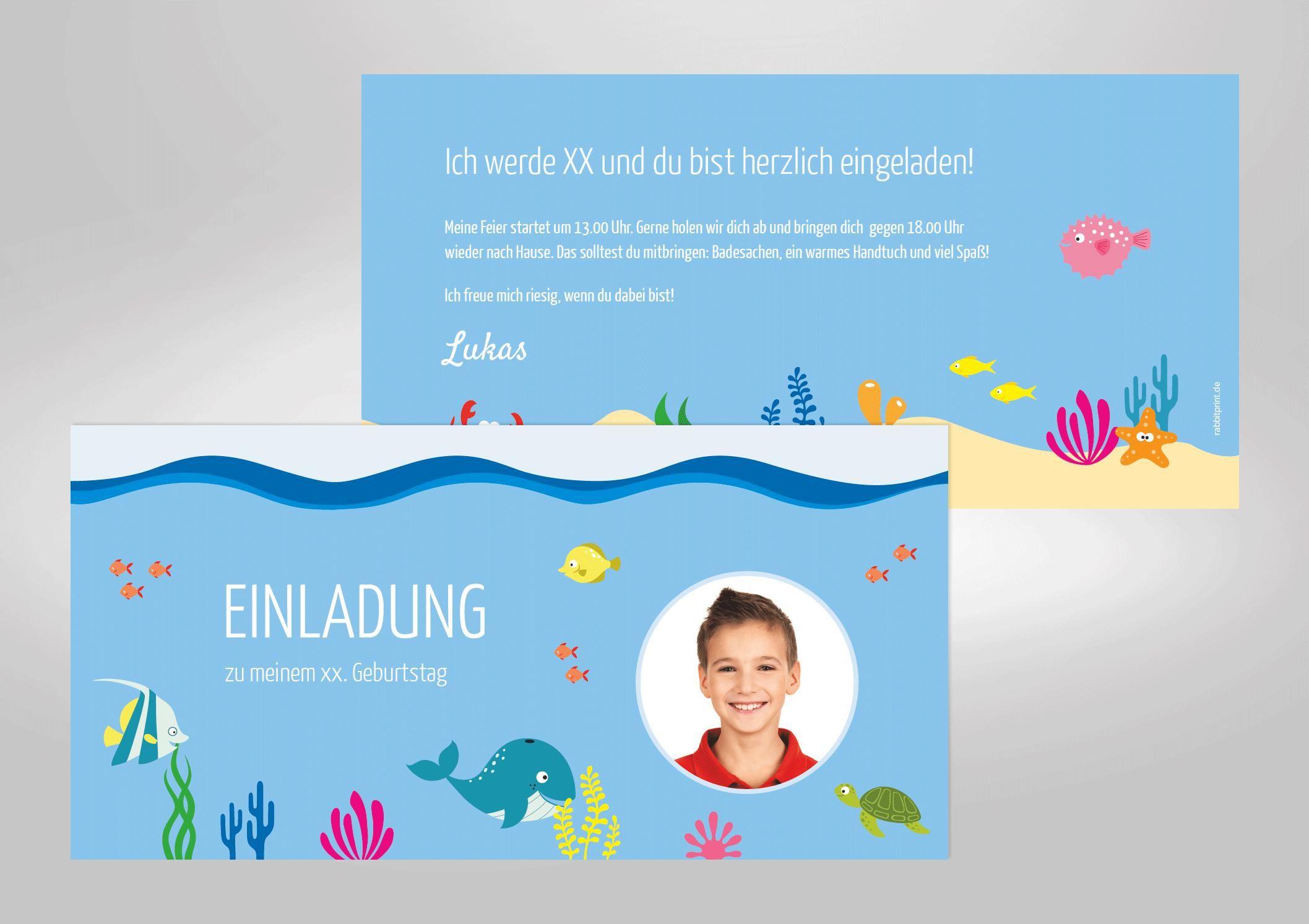 Einladungskarten geburtstag kostenlos ausdrucken schwimmbad