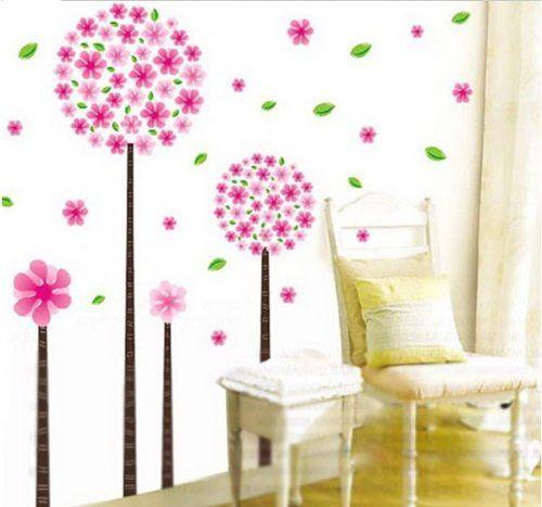 Spectacular Rosa L wenzahn Blumen Baum romantische Wandtattoo Kinderzimmer Schlafzimmer Wohnzimmer Gr xcm Wandsticker de