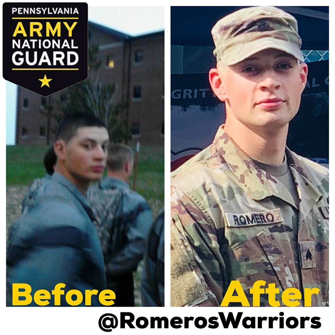 Before & After Left Picture Basic Training Rank Private