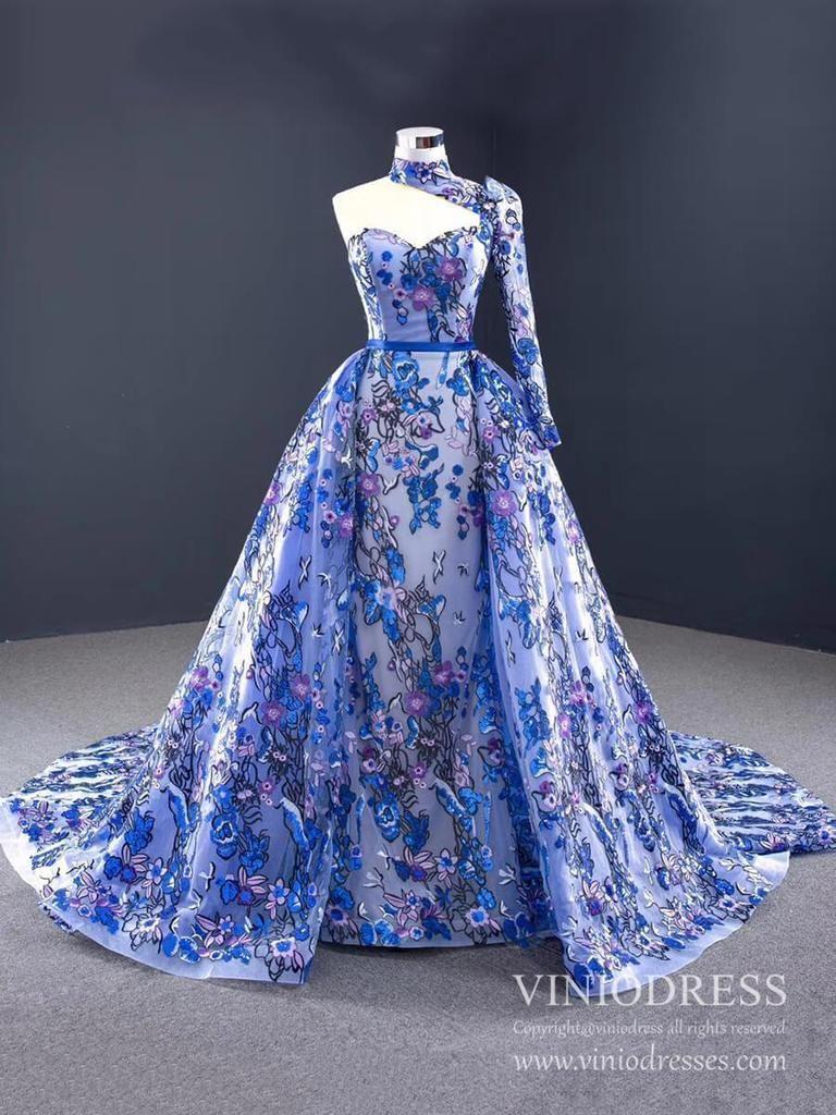 Vintage Royal Blue Floral Lace Prom Dresses One Shoulder Long Sleeve Formal Dress Fd1047 Floral Dress Formal Formal Dresses For Weddings Dresses Formal Elegant [ 1024 x 768 Pixel ]