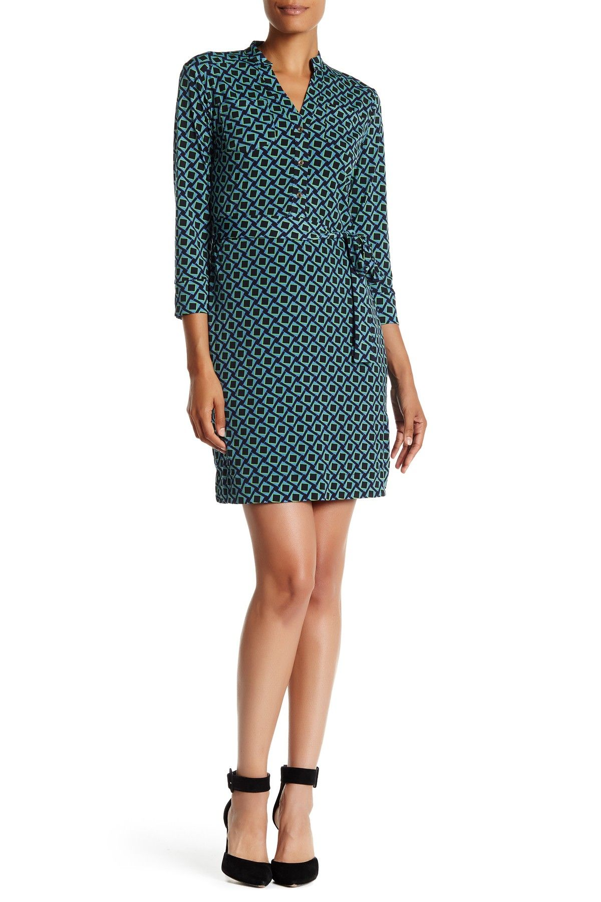 V-Neck Diamond Print Shirt Dress