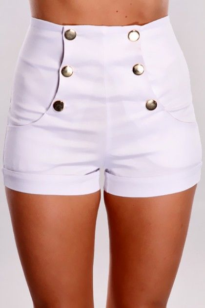 ca96f43ce78b White Stretch Fit High Waist Shorts | Clothes | Clothes, Shorts ...