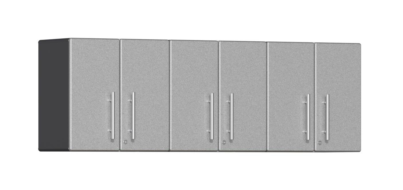 """Ulti-MATE Garage 2.0 Series 3-Piece Wall Cabinet Kit in Silver Metallic UG23030S Ulti-MATE Garage 2.0 Series takes the back-to-back Consumers Digest awarded """"Best Buy"""" cabinet line features to the next level. Three (3) piece 2-door wall cabinet kit provides oversized space-saving organization for use on single or multi-wall designs in garage, workshop and business applications. Metallic gloss car-like color facing will have you stand out from crowd and industrial strength tackle the most discern"""
