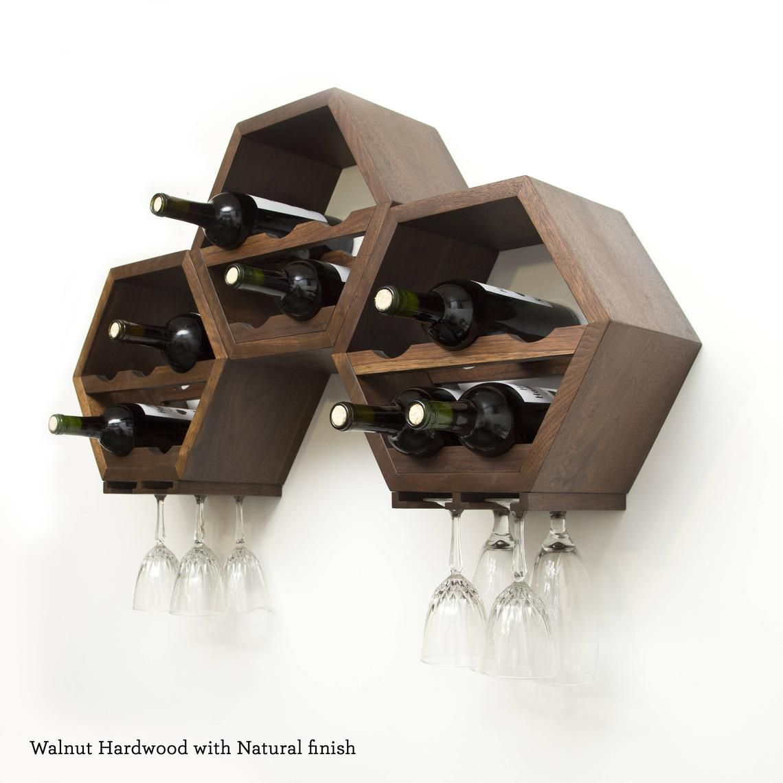Cantinetta Legno Per Vino wood wine rack kitchen decor - wine storage gift idea