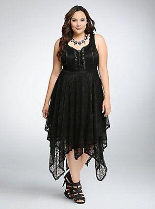 lace up corset dress deep black  plus size black dresses