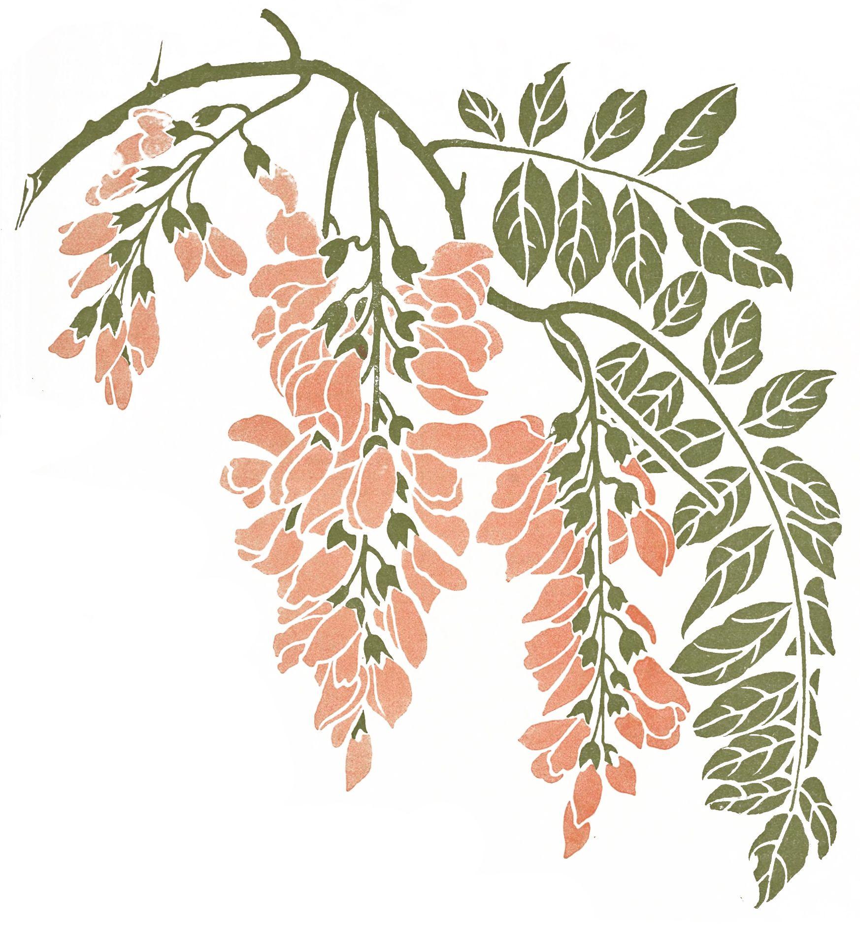 Art Nouveau Pink Flower Vine Vintage Illustrations And Clipart