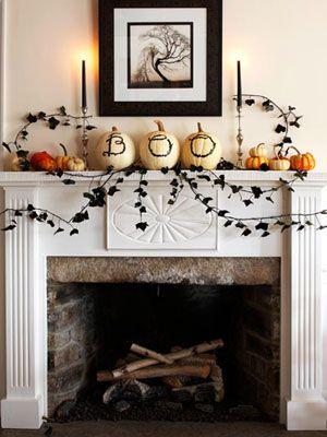 Fireplace Mantel Halloween Decoration 2 Halloween/Fall Pinterest