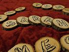 wood slices with letters