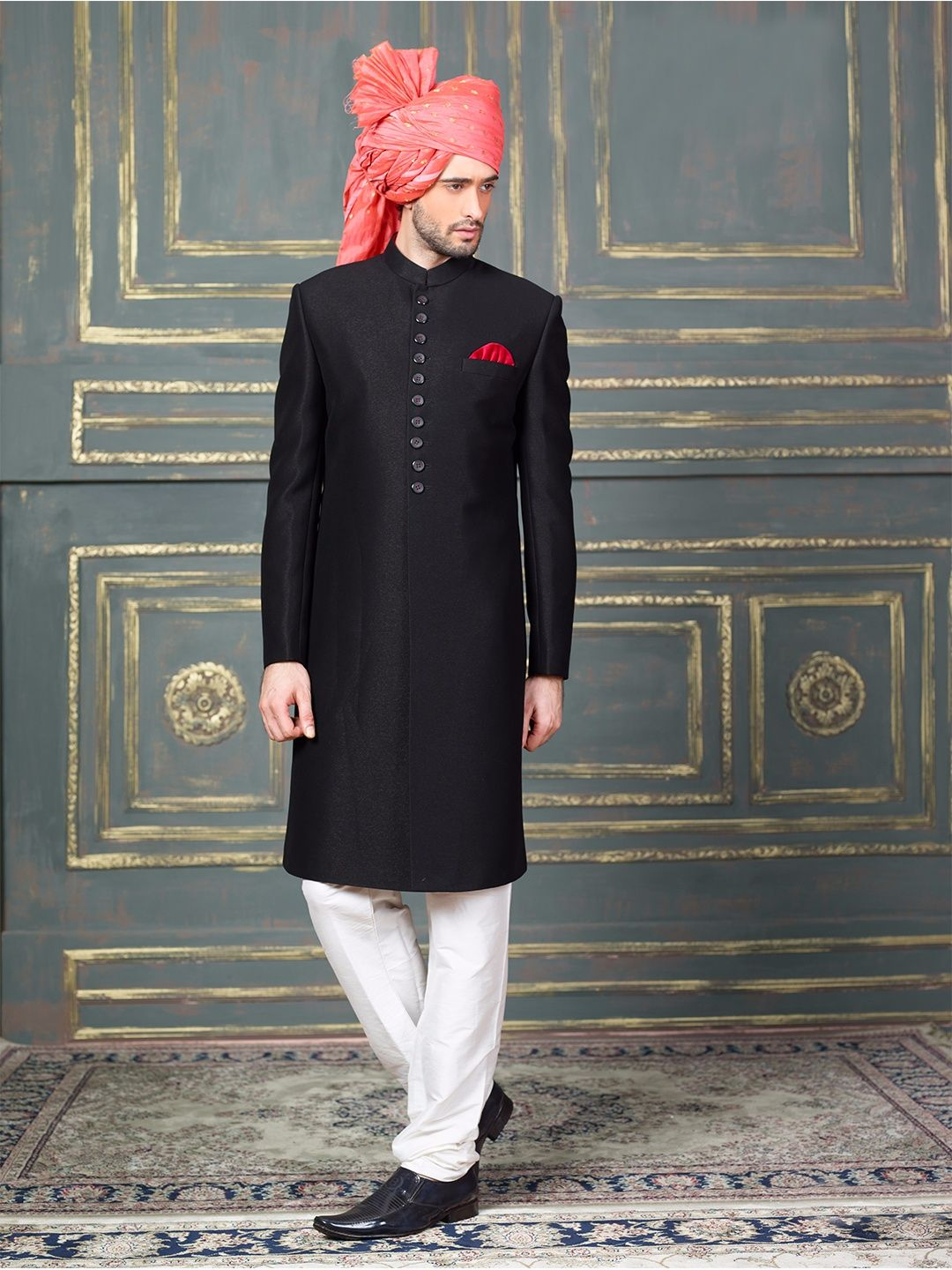 bcf46c2249 Black Terry Rayon Solid Indo Western Sherwani. Shop Classic Black terry  rayon indo western online from G3fashion India. Brand ...