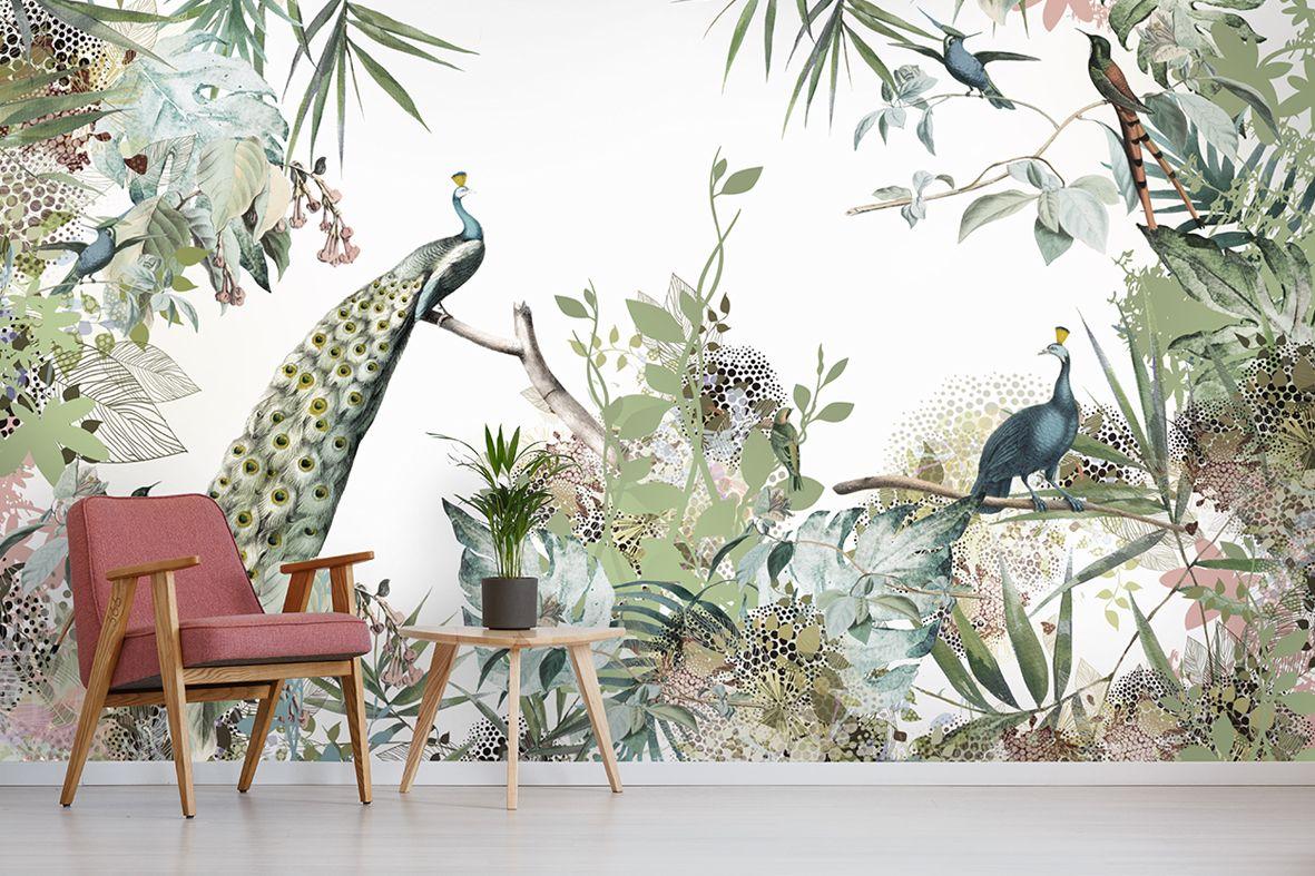 Behang Kleur Eucalyptus : Tropisch behang in zachte tinten de kleuren kunnen worden