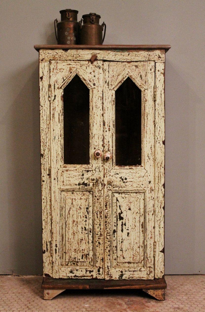 Distressed Restored Mint Green Vintage Indian Glass Storage Bathroom Kitchen Cabinet. $499.00, via Etsy.