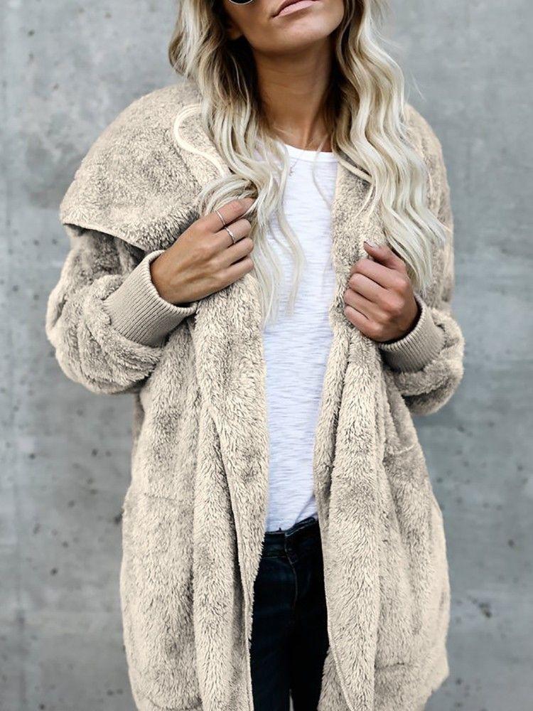 9785bd59776db Warm Solid Pocket Design Hoodies Fluffy Oversized Jacket