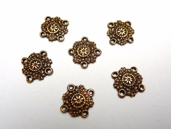 6 brass connectors ornament bronze by FunkelShop on Etsy, €1.80