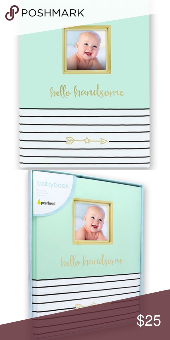 Hello Handsome Baby Record Book by Pearhead® NWT Create a keepsake for generations to enjoy with this Hello Handsome Baby Record Book by Pearhead®! Book features 48 fill-in pages and spaces to add favorite photos. Blue with gold, white, and black accents. This guided journal and album makes an excellent baby shower gift or gift for new parents and grandparents.  Baby Record Book measures 11.25 inches by 9 inches Color: blue, white, and gold 48 fill-in journal pages to record memories Cover fea #babyrecordbook