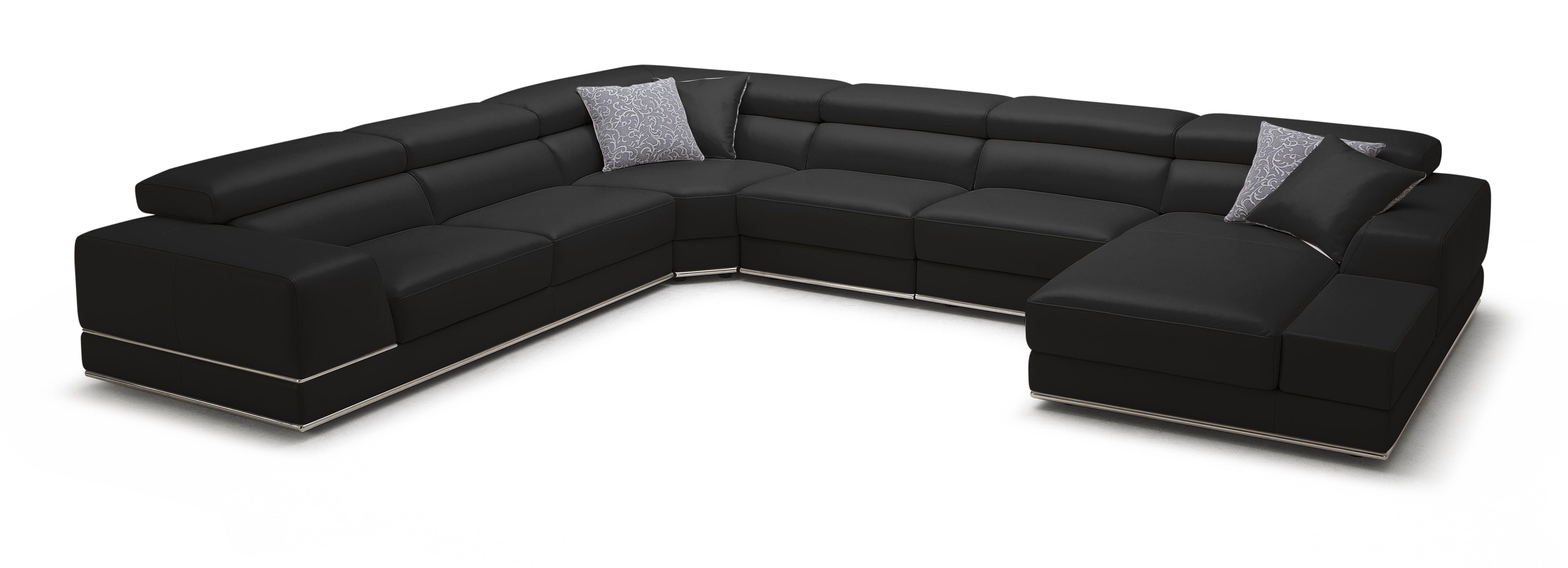 Bergamo Extended Sectional Leather Modern Sofa Black Modern