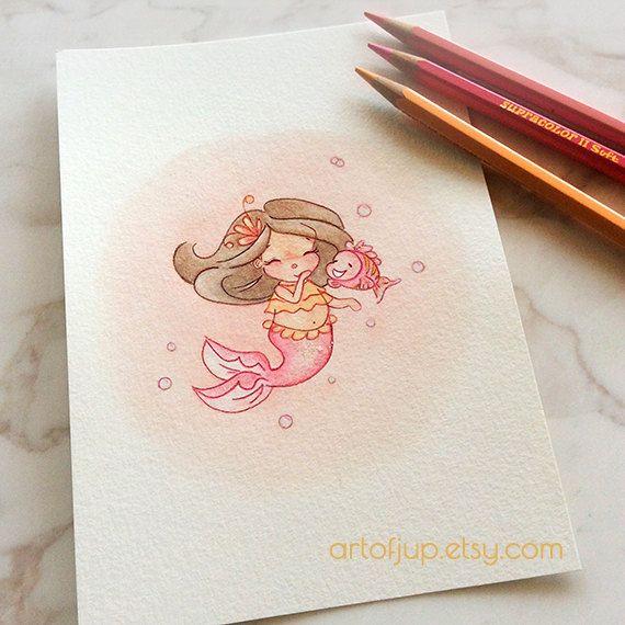 Original Watercolor Mermaid