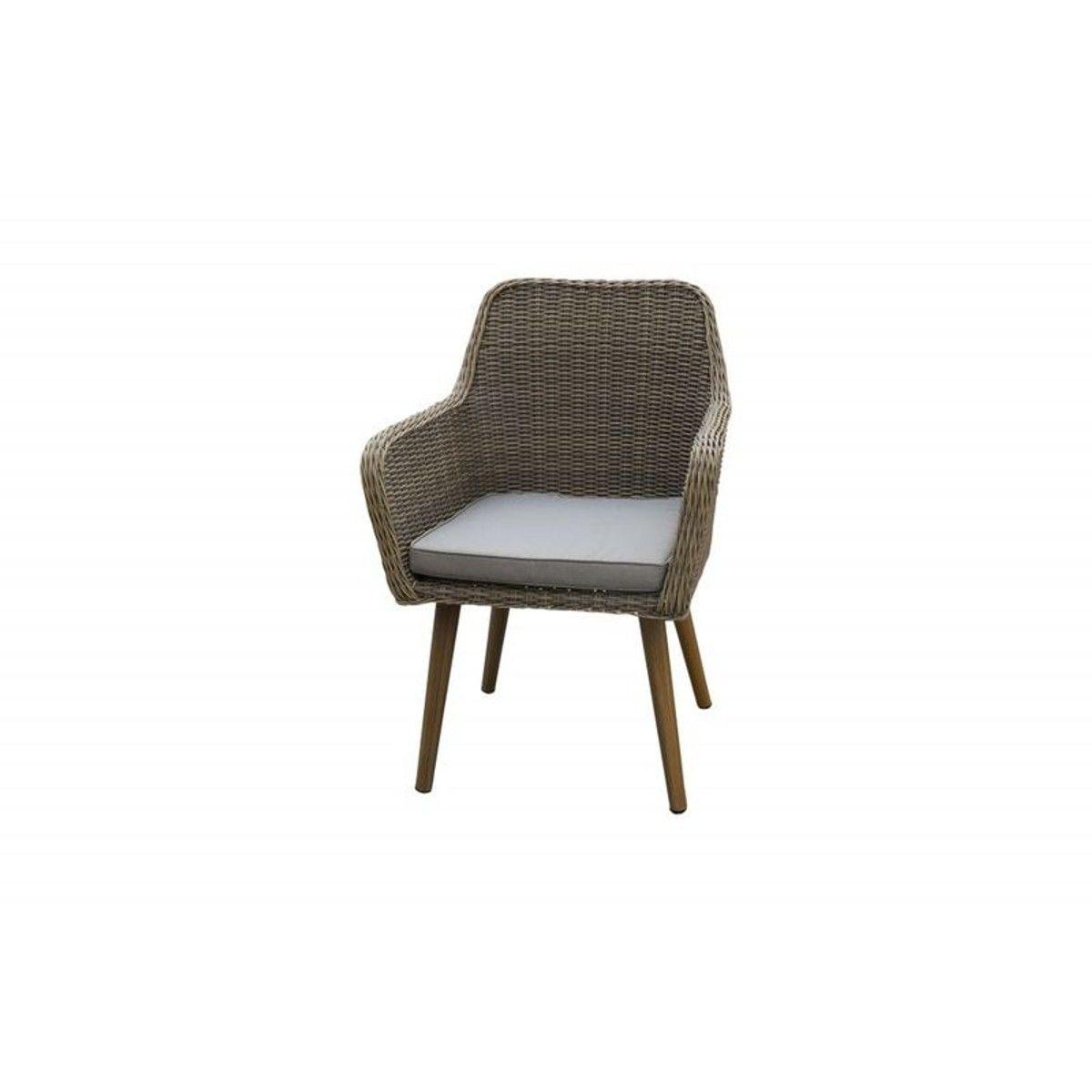 Fauteuil chaise de table de jardin en résine tressée sable ...