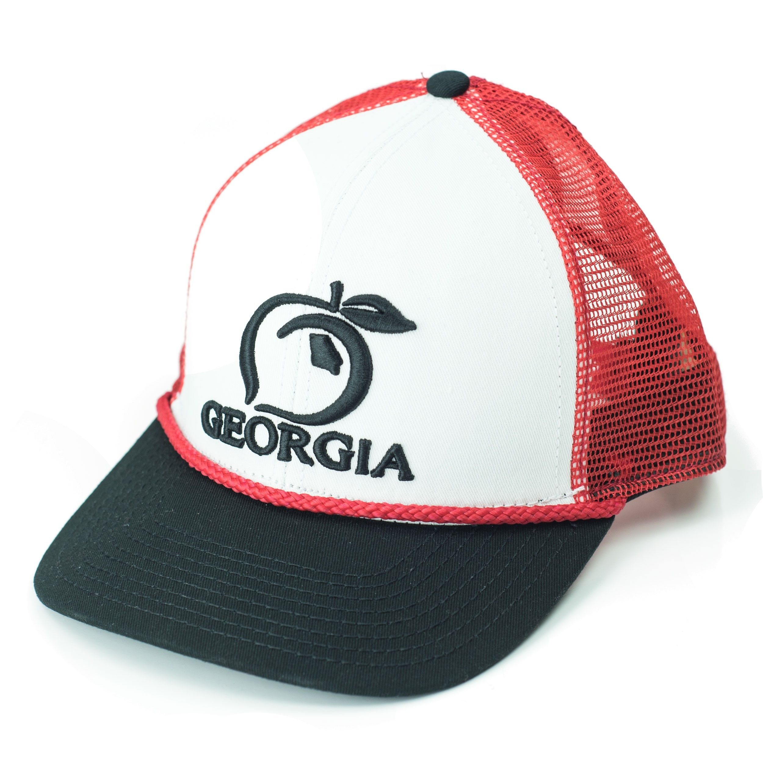 36ada5726dc69d The Peach State Pride Trucker Hat in Red/White/Black - Low profile  structured cap with a cotton/polyester twill front and a nylon mesh back  with an ...