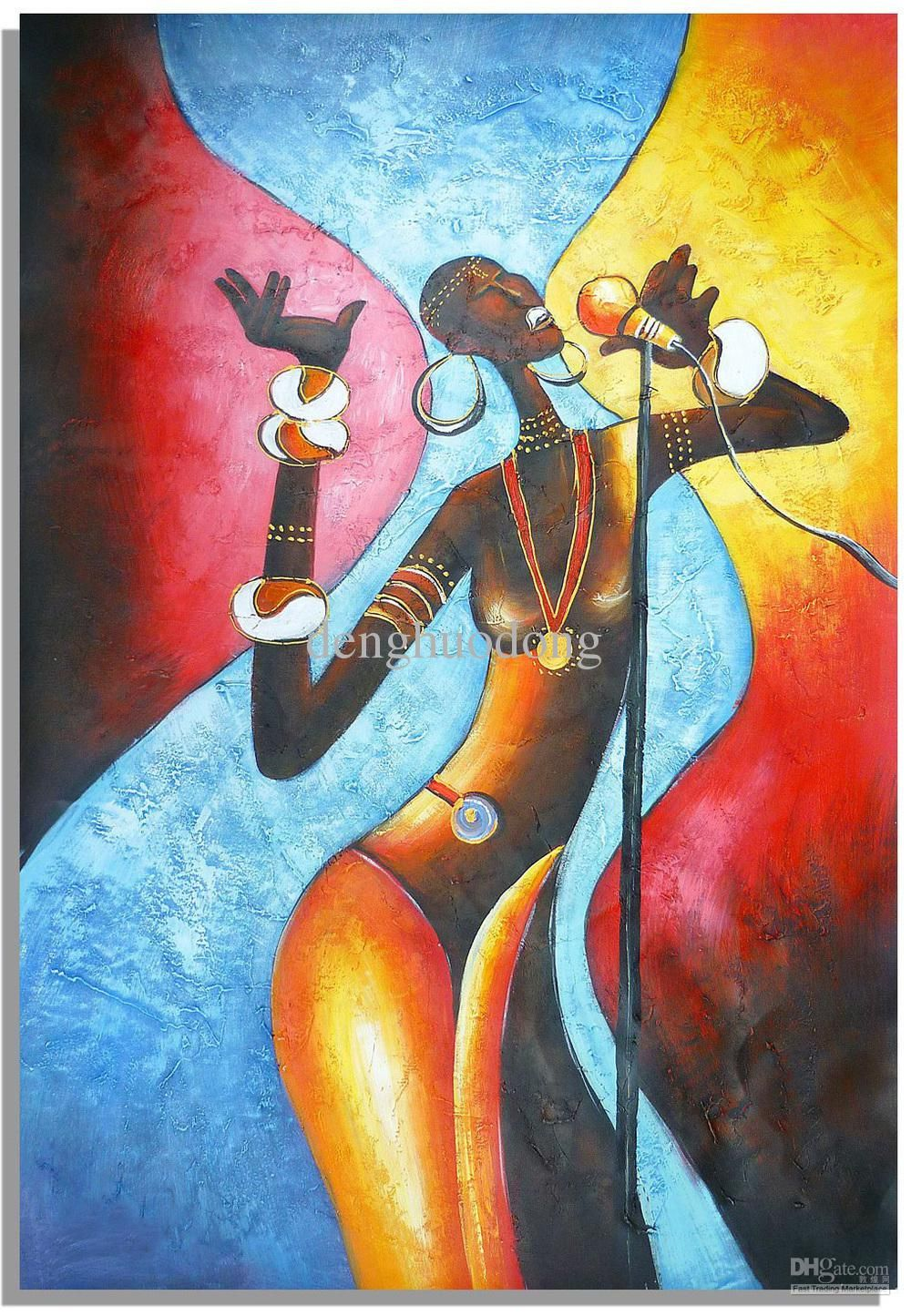 2021 Hand Painted Wall Art Abstract Oil Paintings African Women Singing Home Decoration From Denghuodong 15 82 Dhgate Com Lion Canvas Painting Hand Painted Wall Art Watercolor Lion