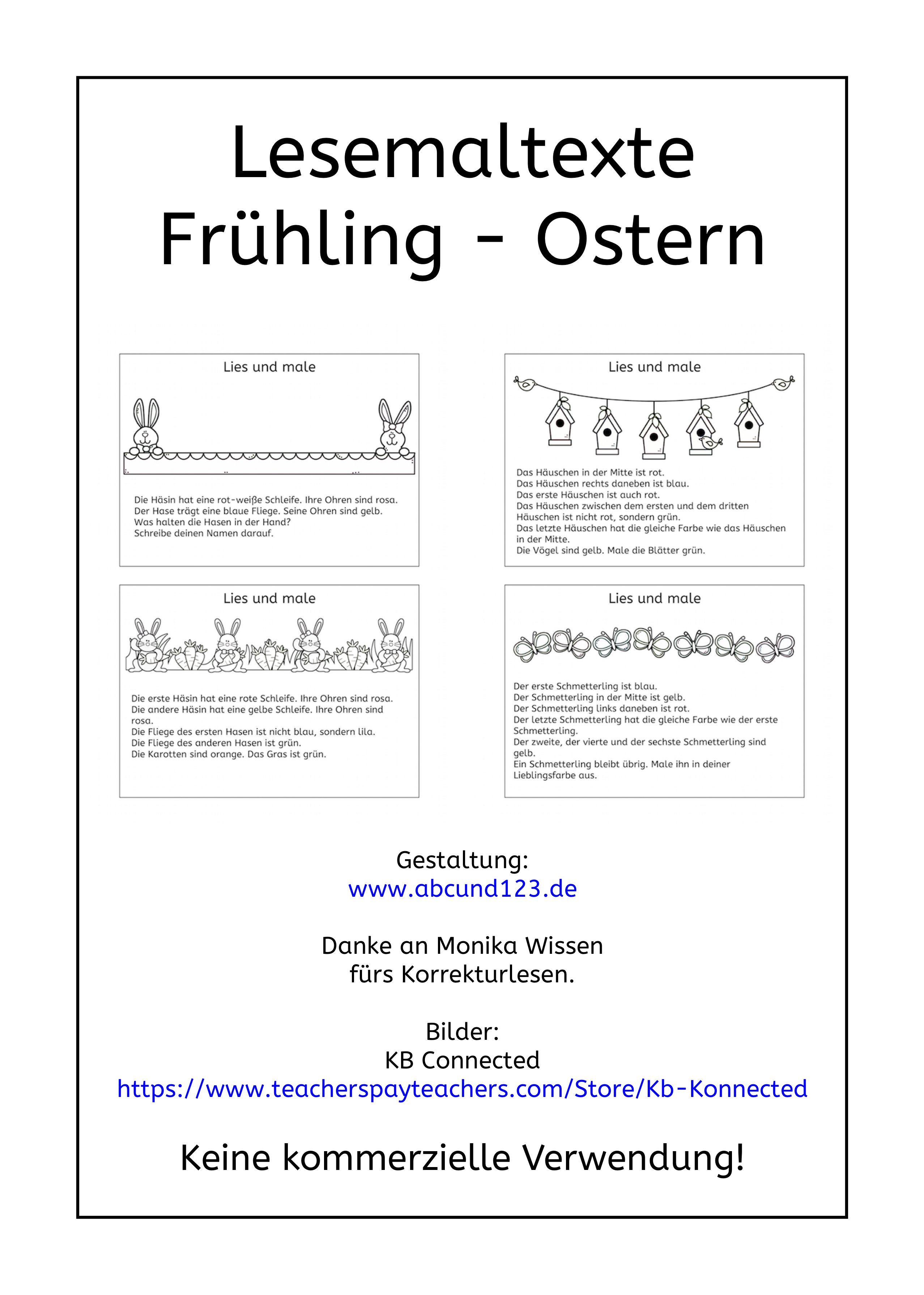 Kurze Lesemaltexte zum Frühling und zu Ostern, lesen, Lesematerial ...