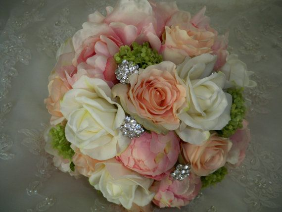 Vintage Pink and Peach Silk Peony and Cream/white by modagefloral, $225.00