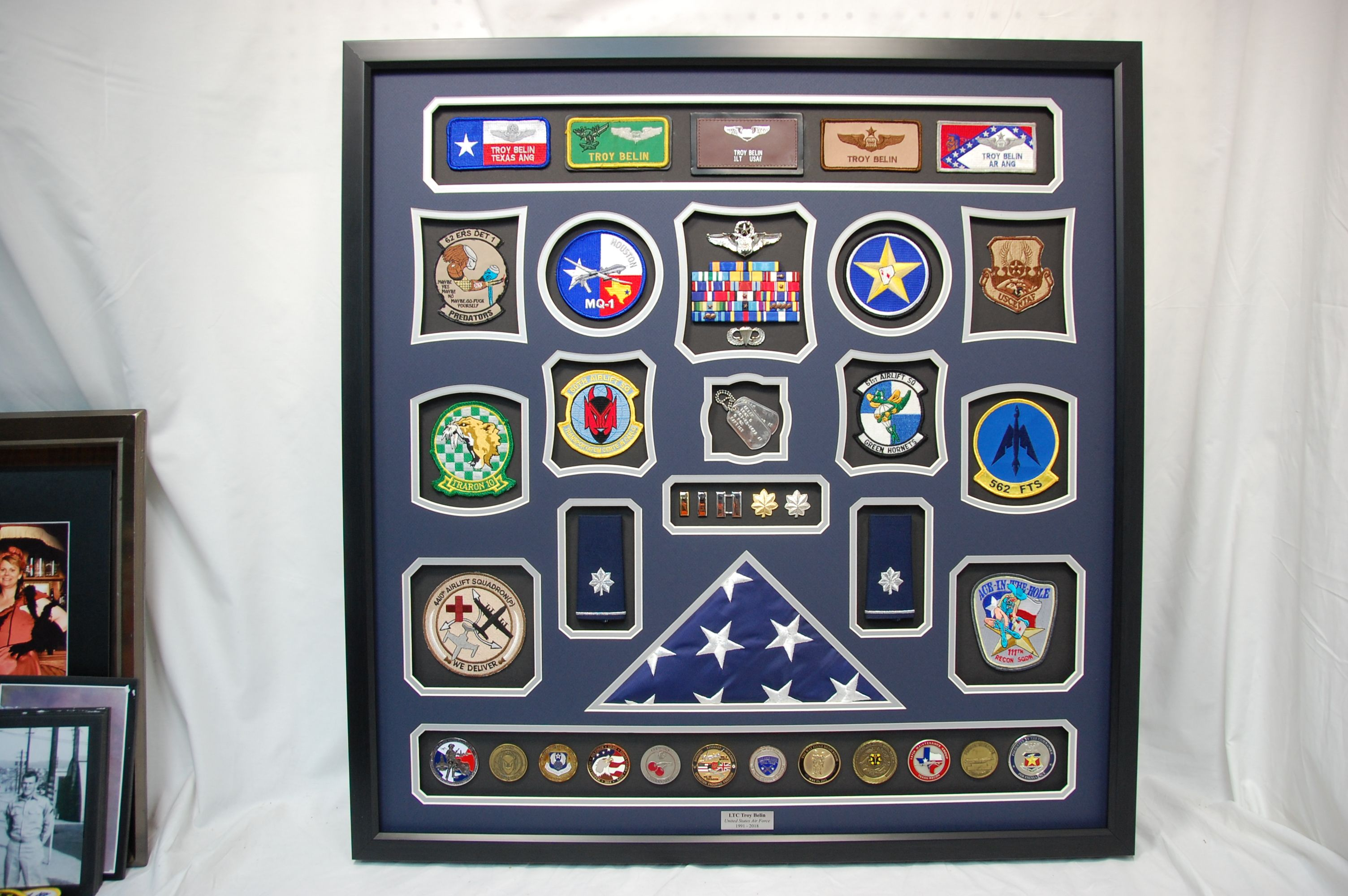Air Force Officer Shadow box display. We mounted many